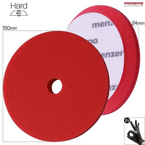 detailmate Set - Menzerna Premium Heavy Cut Foam Pad - 150 mm - Harter Polierschwamm - rot + 2 Nitril - Schutzhandschuhe
