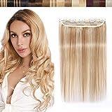 SEGO Extension Monobande Vrai Cheveux a Clip Naturel - 25 CM 18P613#Ash Blond & Blond Blanchi [ Volume Standard ] - Remy Human Hair Rajout Froid pas Cher