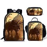 POLERO Mochila escolar para niñas, adolescentes, mochila para niñas con bolsa de almuerzo, mochila 3 en 1 con estampado de dinosaurio T-REX