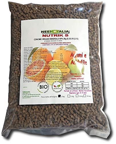 Concime per Agrumi Limoni Arance ECC.   acidofile Organico Nutrik S professsionale 6-6-10 con NEEM Confezione da 2 kg