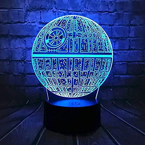 Diashow 3D film Wars Death Planet Lamp 3D atmosfeer nachtlicht cadeau kleurrijk verjaardagscadeau E - wekker basis 7 kleuren/D - afstandsbediening 7 kleuren (