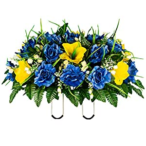 Sympathy Silks Artificial Cemetery Flowers – Realistic- Outdoor Grave Decorations – Non-Bleed Colors, and Easy Fit – Yellow Amaryllis & Blue Rose Saddle for Headstone