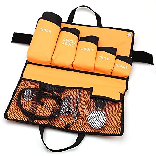 LotFancy 5 en 1 Esfigmomanómetro Aneroide Profesional con Doble Estetoscopio y 5 Puños de Tamaño