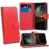 Nokia 6 2018 6.1 Cases - Red Premium Wallet Leather Flip