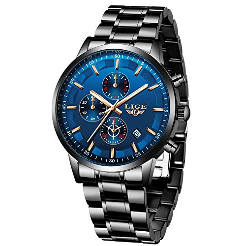 LIGE Herren Uhren Wasserdicht Chronograph Blau Edelstahl Armbanduhr Männer Militär Sport Kalender Analog Quarz Uhr