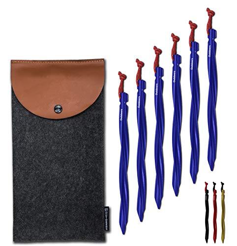 Outdeers 8X regenbogenfarbene Zeltheringe aus Titan mit reflektierender Kordel inklusive Tasche und Zeltleinenspanner – 8 Heringe mit je 17 cm Länge – für festere Böden geeignet