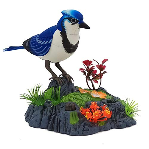 Sprechender Papagei, elektronischer sprechender Papagei, singt und zwitschert Sittich, Vogel mit Bewegungsmelder, Aktivierung der Aussprache (Blue Jay)