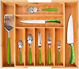 Bamboo Kitchen Drawer Organizer - Expandable Silverware Organizer/Utensil Holder and Cutlery Tray with Grooved Drawer Dividers for Flatware and Kitchen Utensils (9 Slots, Natural)