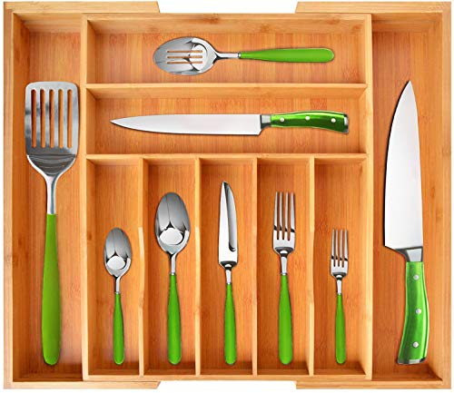 """Bamboo Kitchen Drawer Organizer - Expandable Silverware OrganizerUtensil Holder and Cutlery Tray 20""""-175"""" Natural"""