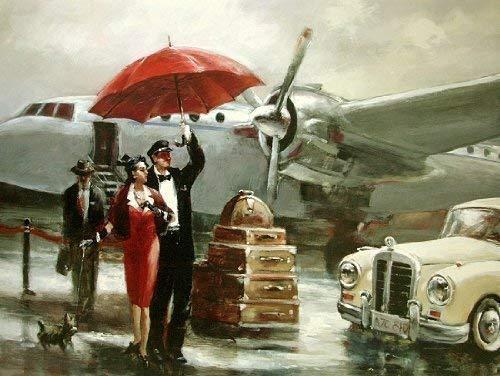 Fertig-Bild - Brent Heighton: Transcontinental Flight 60 x 80 cm Flugzeug Flughafen Vintage Oldtimer Paar Abreise reisen fliegen