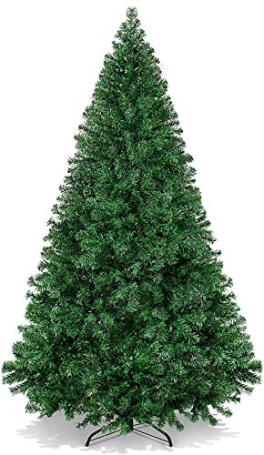 HENHEN 6ft Christmas Tree, 800 Tips Unlit Artificial Pine Tree, Holiday Decoration w/Foldable Metal Stand