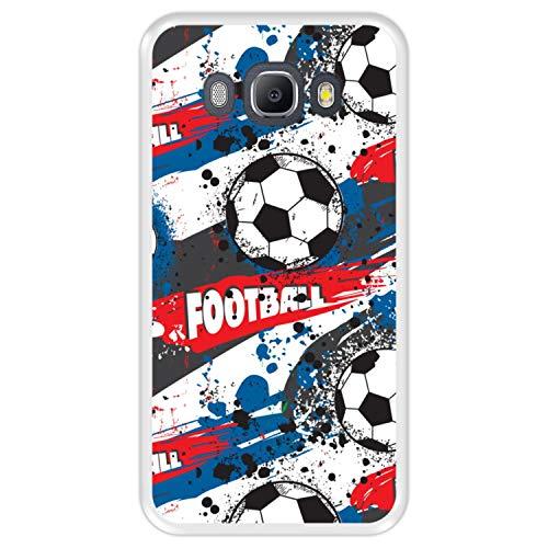 Hapdey Funda Transparente para [ Samsung Galaxy J5 2016 ] diseño [ Patrón Deportivo con Bolas de Futbol ] Carcasa Silicona Flexible TPU