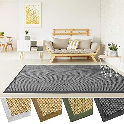 casa pura Grand Tapis de Salon 100% sisal Naturel | avec Bordure Coton | 4 Couleurs et 2 Tailles | Tiger Eye, Anthracite - 160x230cm