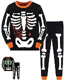 EULLA Little Boys Pajamas Sets Toddler skeleton Pumpkin 100% Cotton Kids Sleepwear (1-Skeleton, 4T)