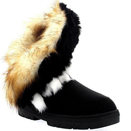 Holly Damen Short Tassel Rabbit Pelz Gefüttert Winter Kaltes Wetter Schnee Regen Stiefel - Schwarz - BLA38 AEA0403