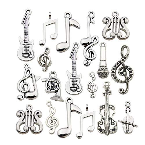 100g (70pcs) Wholesale Bulk Lots Instrument Music Notes Charms for Jewelry Making Mixed Smooth Tibetan Silver Metal Charms Pendants DIY For Jewelry Making Necklace Bracelet and Crafting (M211)