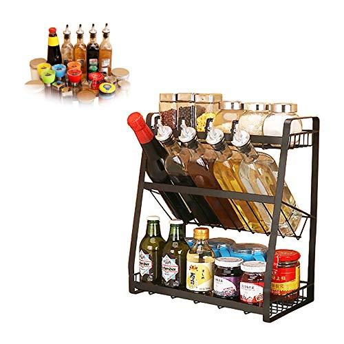 Dyna-Living Gewürzregal,3-stufiges Spice Rack,Küchengewürzregal, Gewürze Gewürzhalter,Metal Gewürzständer,für Gewürzstreuer Gewürzdosen - Schwarz