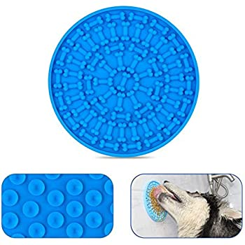 ZOLEN Dog Slow Dispensing Treater Mat Dog Lick pad Peanut Butter Lick mat for Pet Bathing, Grooming, and Dog Training [Blue]