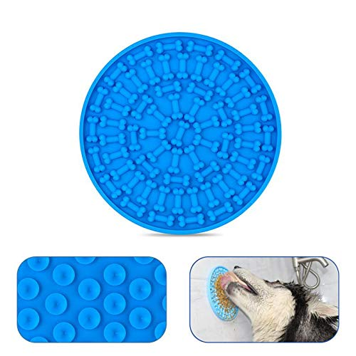 Dog Slow Dispensing Treater Mat Dog Lick pad Peanut Butter Lick mat for Pet Bathing, Grooming, and Dog Training [Blue]