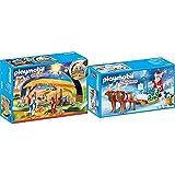 PLAYMOBIL Christmas Belén con Luz y Patas Plegables, A Partir de 4 años (9494) + Trineo de Papá Noel con Reno Juguete, Multicolor, tu (Geobra Brandstätter 9496)
