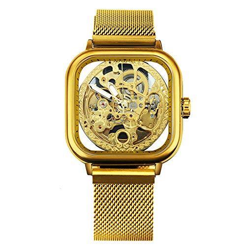 Reloj de Marca Superior para Hombre, Correa de imán mecánico automático, Reloj de Pulsera Esqueleto Transparente Real de Moda
