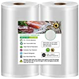 Geniusidea 8''x50' Vacuum Sealer Bags for Food Saver (2 PACK), Commercial Grade Food Saver Vacuum Sealer Bags Rolls for Meal Prep or Sous Vide, BPA Free, Microwave & Freezer Safe, Heavy-Duty, 100ft Total