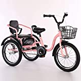 Adult Tricycle Three Wheel Bike Tricycles Three Wheel Bikes For Kids Boys Girls,Tricycles 16 Inch 3 Wheel Bike Cruise Bike Bicycles Comfortable Two-Seater Convenient Handle Design For 2-6 Year Olds Ch