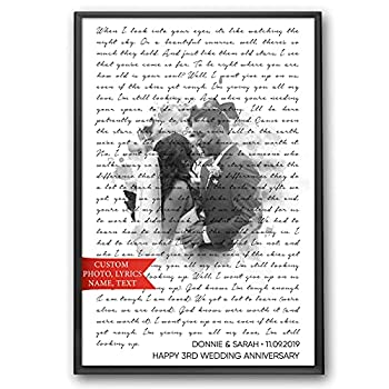 SANTANNA Personalized Music Lyrics Song Prints Wall Art Decoration  Classic Love & Favorite Song Anniversary