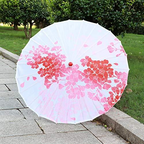 Paraguas de Seda, Mango de Madera Maciza Impresa con delicados Patrones de Flores.(03, L, Blue)