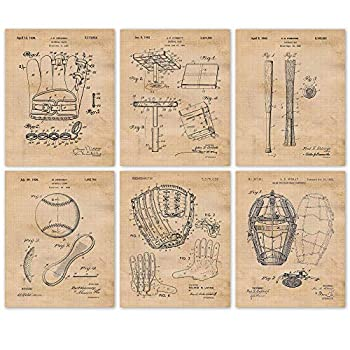 Vintage Baseball Patent Poster Prints Set of 6  8x10  Unframed Photos Wall Art Decor Gifts Under 20 for Home Office Garage Gym College Man Cave Student Teacher Coach Champion Sports Fan
