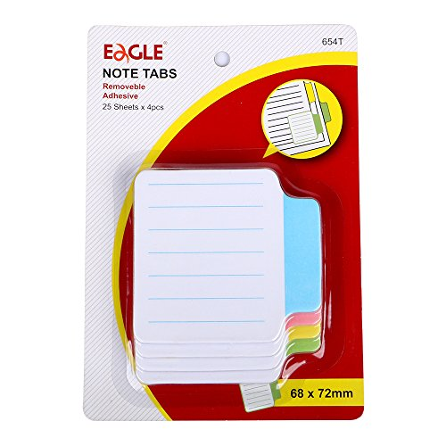 Eagle Sticky Index Tabs, File Tabs Page Markers for Documents, Lined Paper,25 Sheets/Pad, Pack of 4 Pads,Assorted Colors