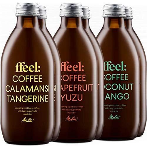 Melitta ffeel Cold Brew Coffee with Fruit Lemonade 6 x 330 ml Probierset 3 Sorten | Kaffee Kaltgetränk natürlich vegan koffeinhaltig ohne Zusatz von Zucker | Coldbrew Coffee mit Superfruit Limonade