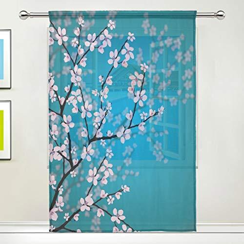 Bigjoke Vorhang für Fenster, japanische Kirschblüten, Vorhänge, Küche, Wohnzimmer, Dekoration, Schlafzimmer, Büro, Voile, 1 Stück, multi, 55x78 inches