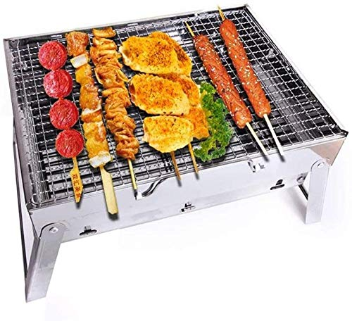 Folding BBQ Grill Rack Barbecue Grill Portable Barbecue Grill Stainless Steel BBQ Grill Foldable Charcoal Grill Outdoor With BBQ-Silver_35*27 * 19.5CM