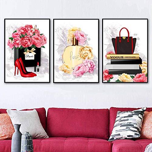 YFYW Parfüm Lippenstift High Heels Wandkunst Leinwand Malerei Poster und Drucke Bilder für Wohnzimmer Dekor-50x70cmx3 Stück kein Rahmen