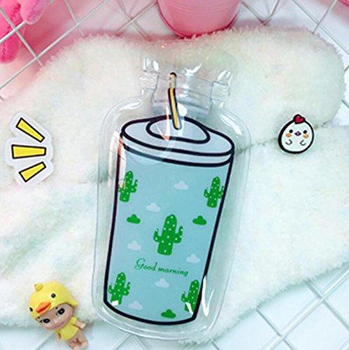 RUIIO Transparente Wärmflasche für Kinder, Studenten, Winter, Cartoon, Mini-Wärmflasche, warme Handtasche, grüner Kaktus