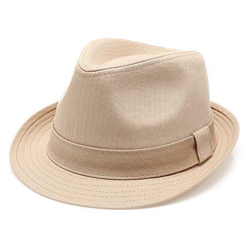 Classic Trilby Short Brim 100% Cotton Twill Fedora Hat with Band(Khaki,SM)