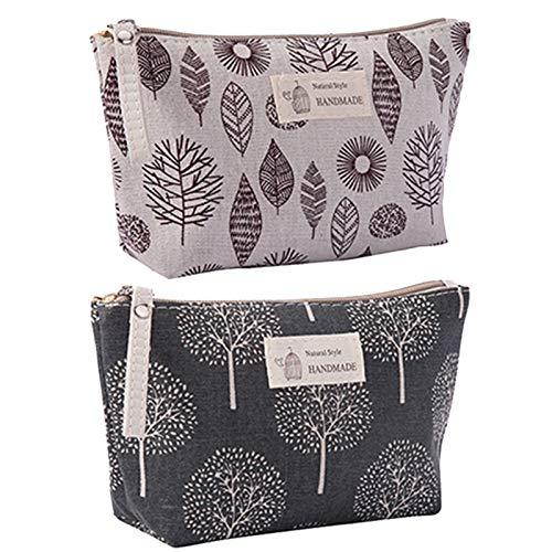 2 Stück Kosmetiktasche aus Segeltuch, Multifunktions Reise Kosmetiktasche, Bedruckte Make-up-Taschen mit Reißverschluss, für Kosmetik-Schlüsselanhänger Münzen Geldkarten (Blatt, Bäume)