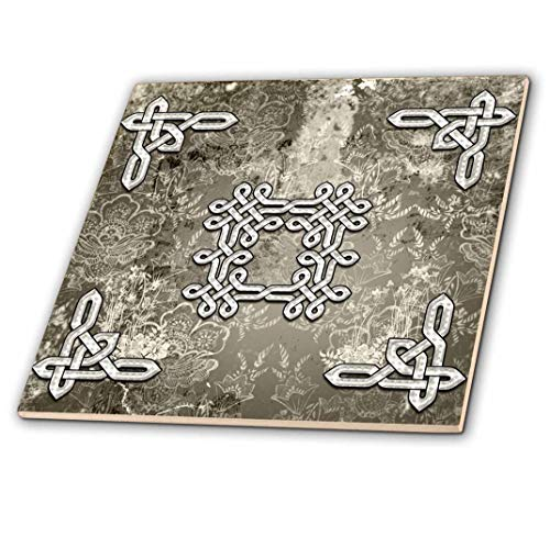3dRose The Celtic Knot On Vintage Background Ceramic Tile, 6'