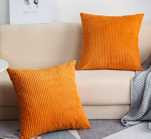 TangDepot, Set of 2 Solid Velvet Striped Corduroy Decorative Throw Pillow Covers, Square Pillow...