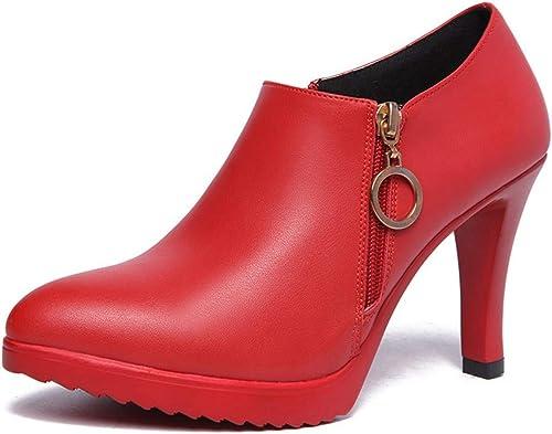YAN schuhe de Moda para damen Stiefel de Confort de otoño Invierno schuhe para Caminar Botines con Punta Estrecha Botines de tacón Alto Silberforma schuhe para damen
