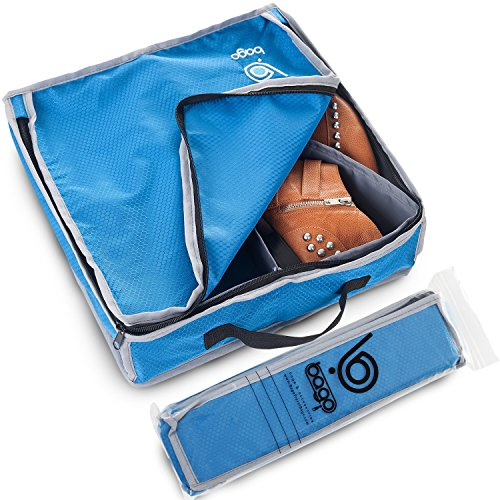 Bago Shoes Bag for Travel - Hanging Packing Cubes for Women Man Kids Storage. Modular Pouch for 1 or 2 sets of Shoes (Blue)