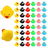 LUTER 48Pcs Rubber Ducky Bath Toy for Kids, Float and Squeak Mini Small Colorful Ducks Bathtub Toys for Shower/Birthday/Party Supplies