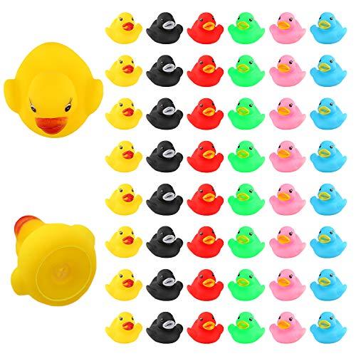 LUTER 48 Piezas Patos de Goma, Flotador y Chirrido, Pequeños Patos Coloridos, Juguetes de Bañera para Ducha / Cumpleaños / Suministros para Fiestas