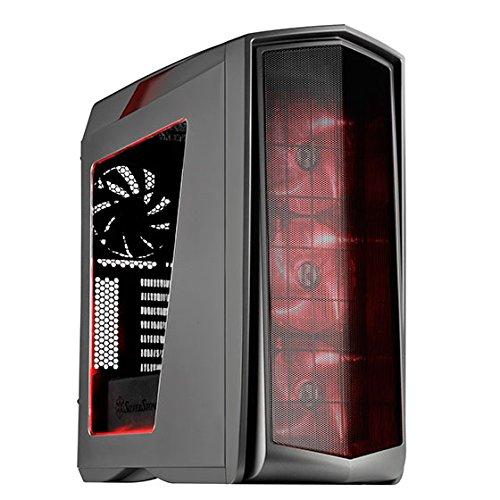 SilverStone SST-PM01TR-W - Primera ATX Gaming Tower Gehäuse, hochleistungsfähiges Kühlsystem, mit Fenster und roten LED, titanium