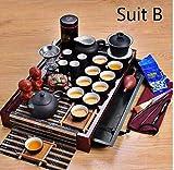 Alarmclocker8B Cerámica Yixing,Juego de té Kungfu,Tetera con Bandeja de té de Madera Maciza,27 Juegos de té,Ceremonia del té Chino B