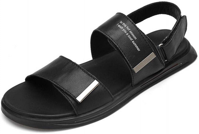 Leather Men's Sandals Men's Sandals Men's Leather Beach shoes (color   Black Sandals, Size   43)