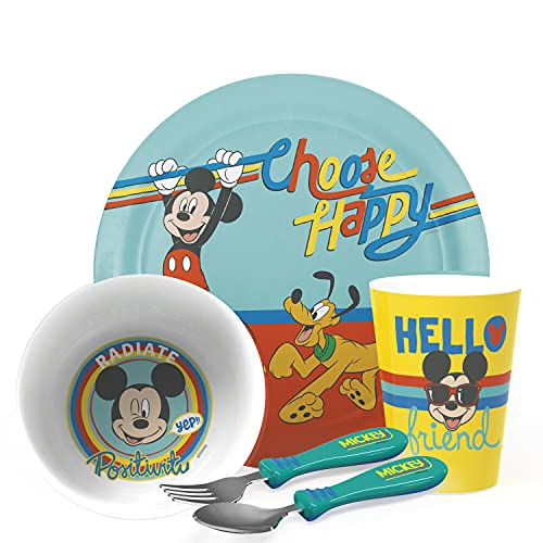 Zak Designs Disney Mickey Mouse Kids Dinnerware Set Includes Plate, Bowl, Tumbler and Utensil Tableware, Made of Durable Material and Perfect for Kids (5 Piece Set, Non-BPA)