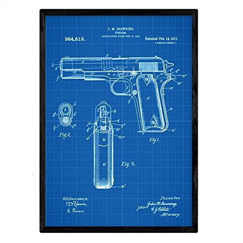 Nacnic Poster con patente de Pistola browning. Lámina con diseño de patente antigua en tamaño A3 y con fondo azul