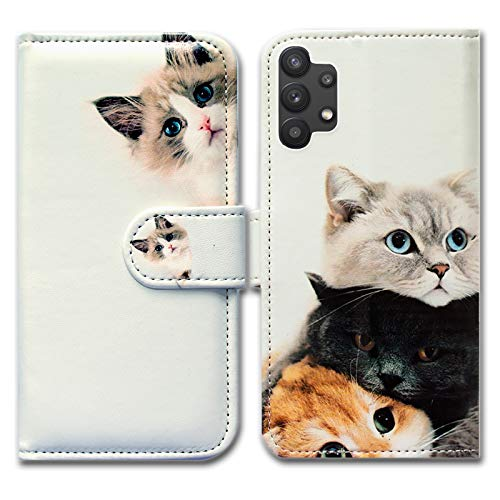 Galaxy A32 5G Case,Bcov Cute Brown Cat Leather Flip Phone Case Wallet Cover with Card Slot Holder Kickstand for Samsung Galaxy A32 5G 2021